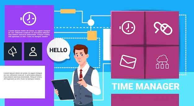 Hombre de negocios con el concepto de interfaz de presentación de horario de tableta gerente horario burbuja copia espacio de copia