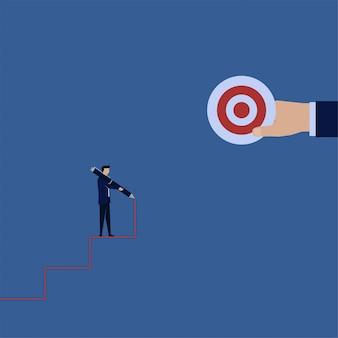 Hombre de negocios concepto plano dibujar escalera con lápiz hacia la metafora meta hacer su propio camino.