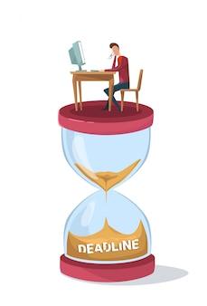 Hombre de negocios del concepto del plazo que se hunde en el reloj de la arena que se sienta en el escritorio de oficina