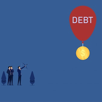 El hombre de negocios del concepto del vector plano del negocio apunta para la mosca de la moneda con la metáfora de la deuda del globo de la libertad financiera.