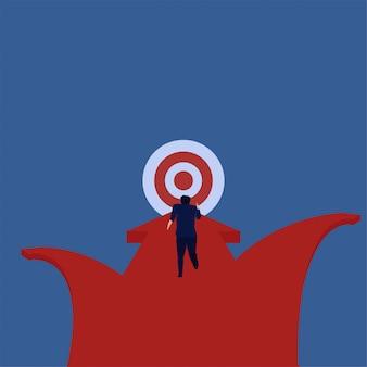 El hombre de negocios del concepto del vector plano del negocio corre directamente para apuntar la metáfora del foco.