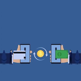 El hombre de negocios del concepto del vector plano del negocio empuja la tarjeta de crédito al teléfono y otro saca la metáfora de la transacción en línea.