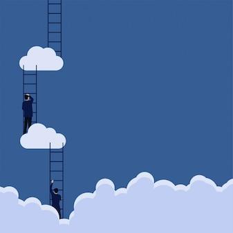 El hombre de negocios del concepto del vector plano del negocio sube la escalera al paso de la metáfora de la nube al éxito.