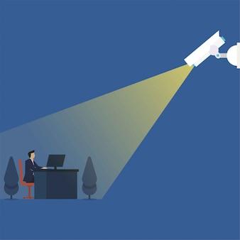 El hombre de negocios del concepto del vector plano del negocio trabaja bajo la metáfora del cctv de la supervisión.
