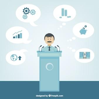 Hombre de negocios en una conferencia