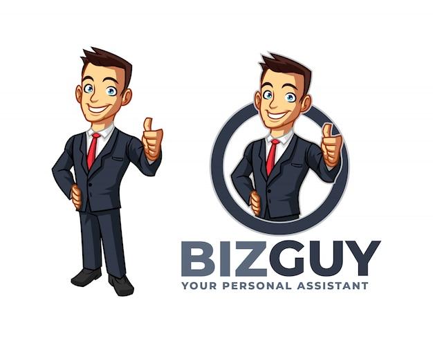 Hombre de negocios confiado sonriente de la historieta que presenta el pulgar encima del logotipo de la mascota del carácter