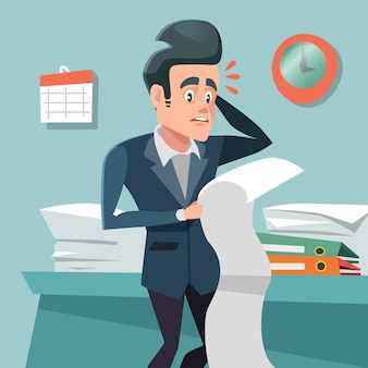 Hombre de negocios confundido con una larga lista de tareas pendientes. horas extras en el trabajo.