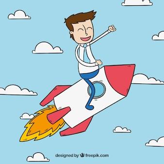 Hombre de negocios contento en un cohete