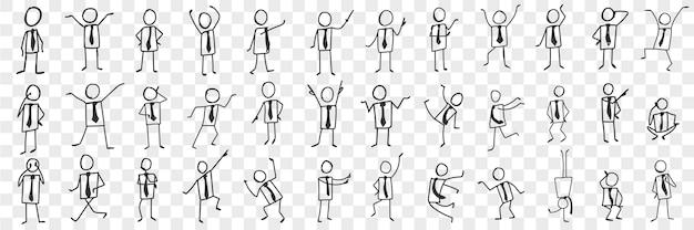 Hombre de negocios en corbata doodle set. colección de siluetas dibujadas a mano de empresario en corbata expresando emociones con manos aisladas.