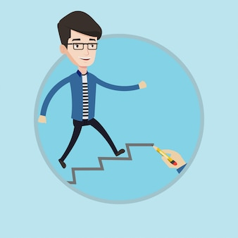 Hombre de negocios corriendo arriba ilustración vectorial.
