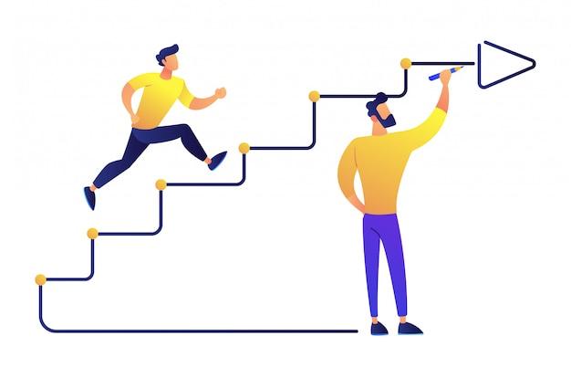Hombre de negocios corriendo escaleras dibujadas con la ilustración de vector de flecha.