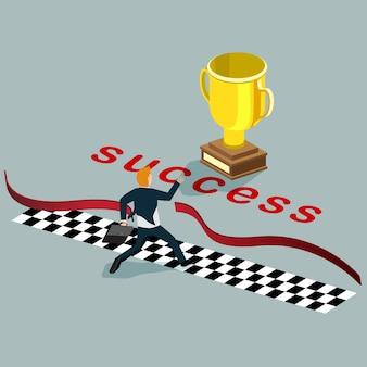Hombre de negocios corriendo hacia el éxito con concepto isométrico