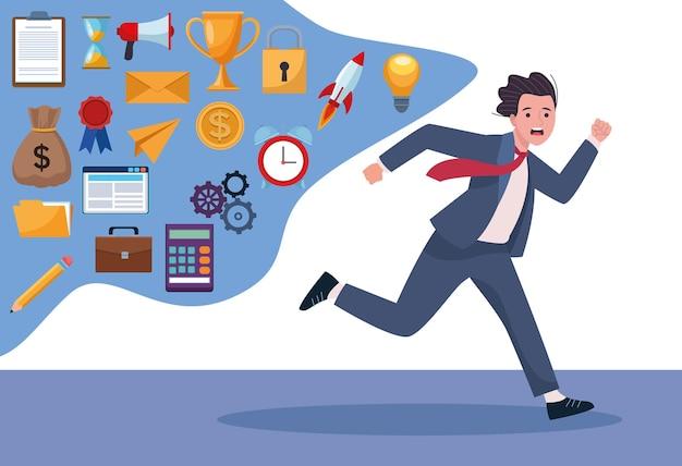 Hombre de negocios corriendo extressed con ilustración de iconos de sobrecarga de información