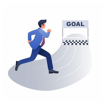 Hombre de negocios corriendo hacia la ilustración del concepto de meta