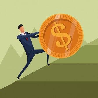 Hombre de negocios crecimiento de moneda subir trabajo