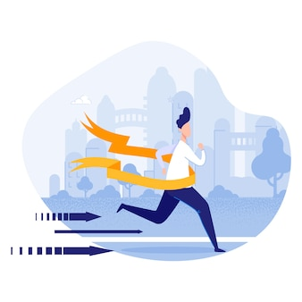 Hombre de negocios crossing finish line en maratón.