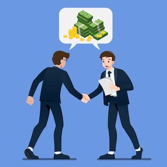 El hombre de negocios se da la mano entre sí con monedas isométricas y dólares de dinero en la charla de chat de burbujas.