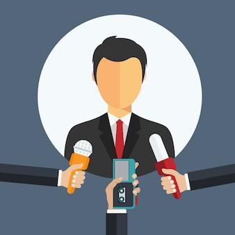 Hombre de negocios dando una entrevista