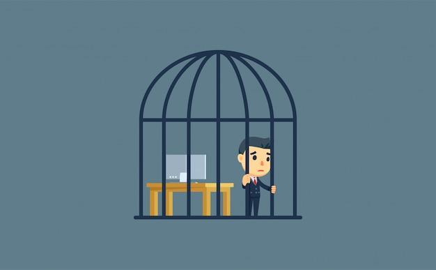 Un hombre de negocios dentro de la jaula de pájaros. ilustración vectorial
