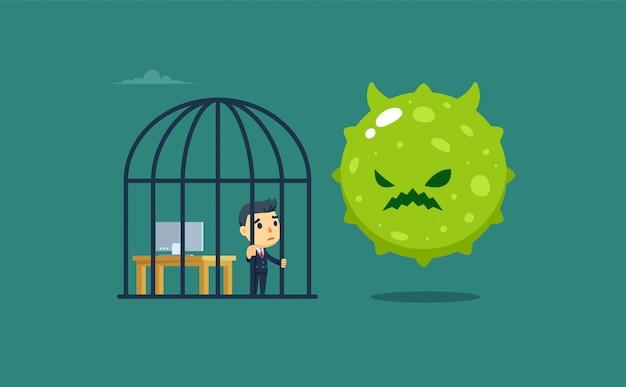 Un hombre de negocios dentro de la jaula con un virus gigante afuera. aislado