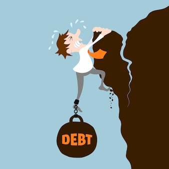 Hombre de negocios con la deuda cayendo desde el concepto de acantilado