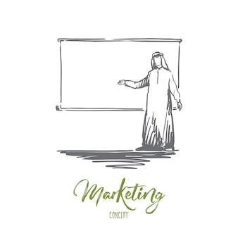 Hombre de negocios dibujado mano con boceto del concepto de presentación. ilustración de vector aislado