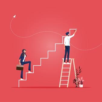 Hombre de negocios dibujo pasos y equipo subiendo escalera de carrera