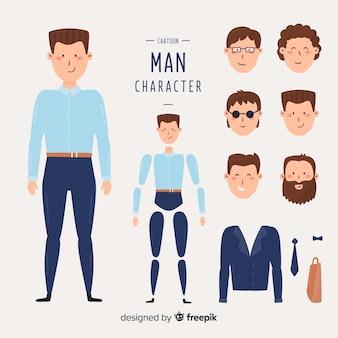 Hombre de negocios dibujos animados para diseño en movimiento