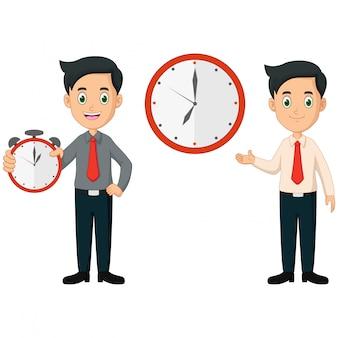Hombre de negocios de dibujos animados con horas