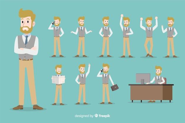 Hombre de negocios con diferentes posturas