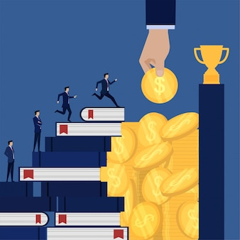 Hombre de negocios dirigido al trofeo a través de libros y monedas, metáfora del conocimiento y dinero para obtener el éxito.