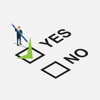 Hombre de negocios diseñado sí o no en la lista de verificación
