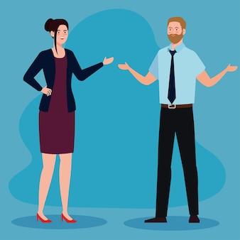 Hombre de negocios con diseño de corbata y empresaria, hombre mujer gestión empresarial ocupación laboral corporativa y tema trabajador