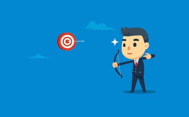 Un hombre de negocios está disparando al objetivo con precisión. ilustración vectorial