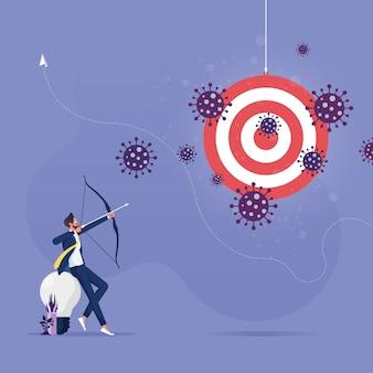 Hombre de negocios disparando una flecha para apuntar a la crisis del coronavirus