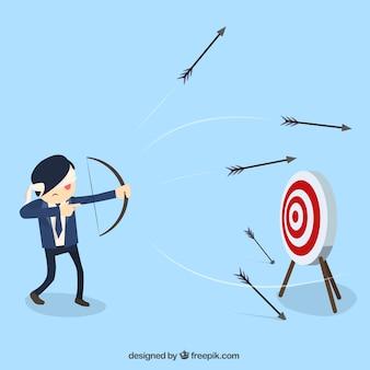 Hombre de negocios disparando flechas con los ojos vendados