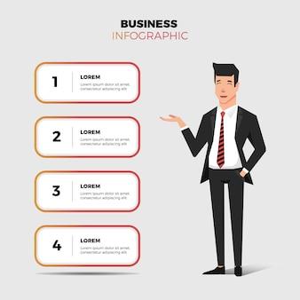 Hombre de negocios e infografía