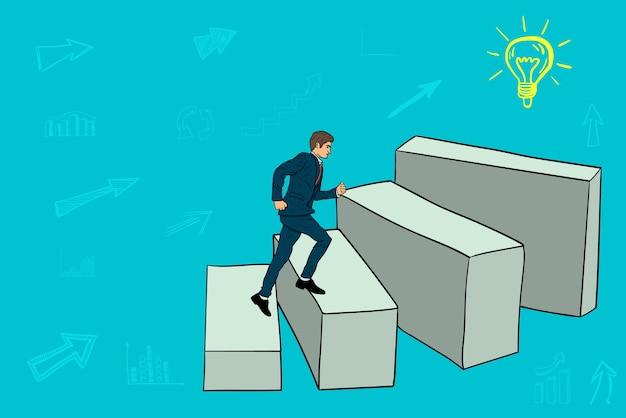 El hombre de negocios está ejecutando bloques a la nueva idea de negocio