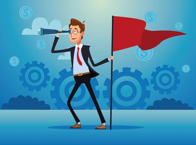 Hombre de negocios elegante con bandera de éxito y monocular