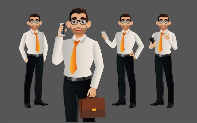 Hombre de negocios elegante con diferentes poses.