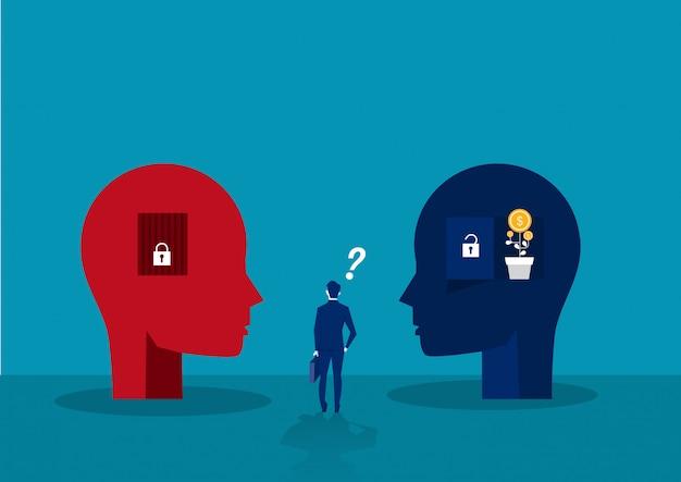 El hombre de negocios elige entre el concepto de mentalidad fija de crecimiento de pensamiento humano de cabeza grande