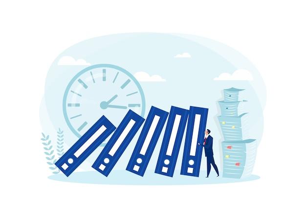 Hombre de negocios empujando archivo grande. concepto de trabajo duro empresarial. ilustración en estilo plano.
