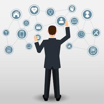 Hombre de negocios empujando en la conexión de iconos de negocios