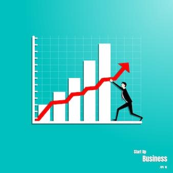 El hombre de negocios está empujando la flecha en gráfico hacia arriba.