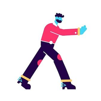 Hombre de negocios, empujar, pared, ilustración