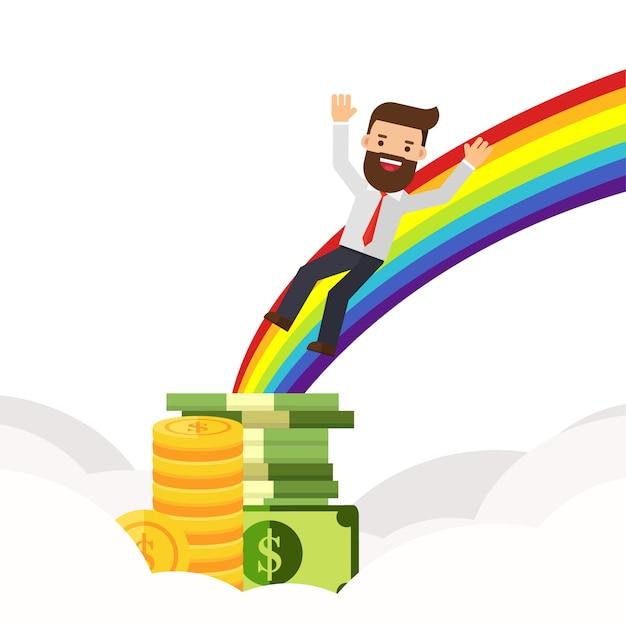 El hombre de negocios encuentra la moneda de oro al final de un arco iris