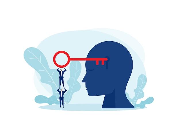 Hombre de negocios del equipo que sostiene la resolución clave grande en la silueta de la mano de una cabeza con una mente de desbloqueo de ojo de cerradura. concepto de mente abierta. diseño plano de ilustración.