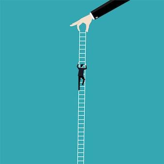Hombre de negocios escalada en escalera hasta el éxito