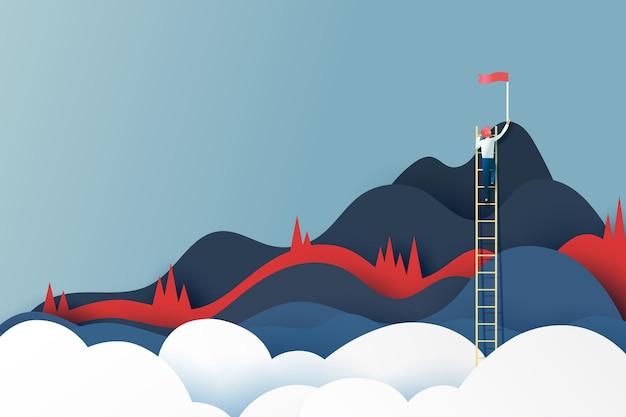 Hombre de negocios en la escalera que alcanza la bandera roja en la cima de las montañas. objetivo de éxito y concepto de negocio. ilustración de vector de arte de papel.