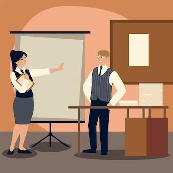 Hombre de negocios con escritorio de carpeta y oficina de papeles ilustración de dibujos animados